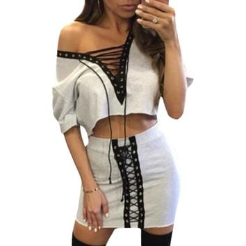 Dress Sexy Women Tracksuits Set Crop Tops Tee Shirt & Skirt