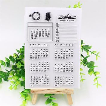 Calendar Week Month Transparent Clear Stamp sheets Seal for DIY Seal Craft Scrapbook/photo album Decorative stamps