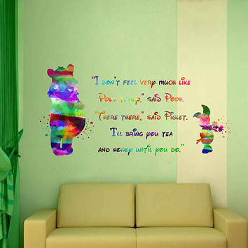 kcik2064 Full Color Wall decal Watercolor Character Disney Winnie the Pooh Piglet quote Sticker Disney children's room