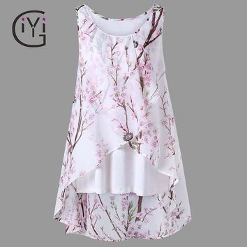 Tiny Floral Print Overlap Sleeveless Women Chiffon Long Asymmetrical Blouse