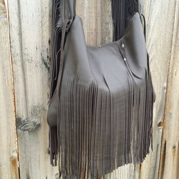 Rustic Dark Brown Fringed Leather Tote Style Purse