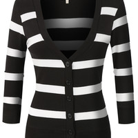 LE3NO Womens Lightweight  3/4 Sleeve Striped V Neck Cardigan