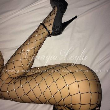 OFFICIAL BRAND GeorgiaLeyla ORIGINAL 350 Crystals Black Fishnets Fully Covered with Swarovski Tights Pantyhose Crystallized Crystal