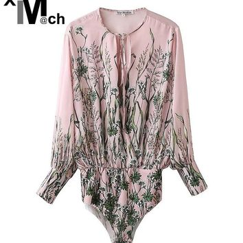 Fashion Sexy Flower Bodysuits Rope Crossover V-neck Blouse Tops and Elastic Waist Press buckle Stretch Briefs Bodysuits JM10721C