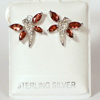 Sterling Silver Dragonfly Garnet Wings Post Earrings