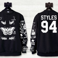 Harry Tattoo Style sweatshirt in Black Sweater Crew Neck Shirt add styles 94 in back – Size S M L XL