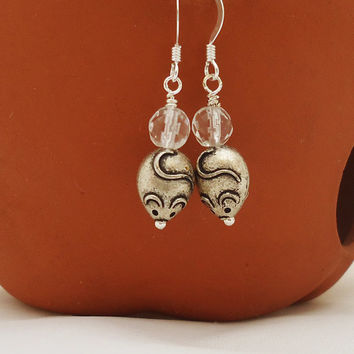 Clear Quartz Earrings, Mice Earrings, Dangle Mouse Earrings, Funny Earrings