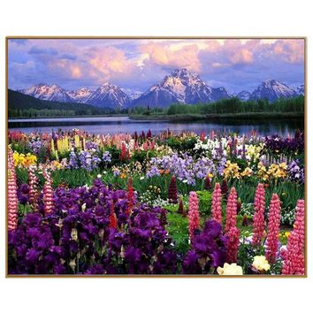 PHKV Diy Pictures By Numbers New Design Canvas Digital Drawing Coloring Oils Painting By Numbers Landscape Flower Sea Wall Art