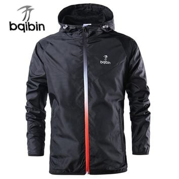 2018 New Spring Summer Mens Fashion Outerwear Windbreaker Men' S Thin Jackets Hooded Casual Sporting Coat Big Size
