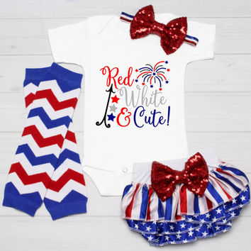 4th of July baby outfit, July 4th Baby Girl Shirt, My 1st 4th, Baby Girl July 4th Shirt, Patriotic Baby Girl Red, White and Blue Girl Shirt