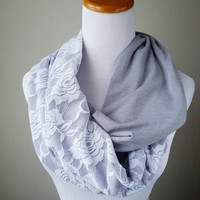 Infinity Gray  Lace with solid soft gray jersey knit