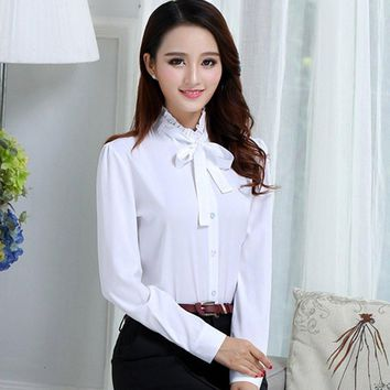 2017 Spring Summer Women's Office Lady Formal Party Lacing Long Sleeve Ruffled Neck Slim Blouse Casual Solid White Shirt Tops