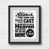 "At Last Typographical Art Print - 8x10"" Etta James Song Lyrics on Sheet Music Wall Art Print"