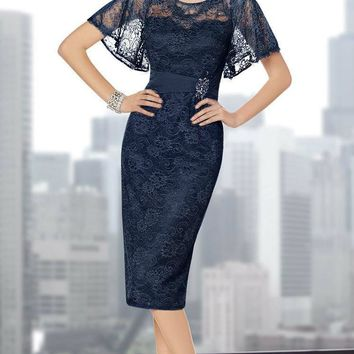 Alyce Paris - Classy Embellished Lace Short Cocktail Dress with Butterfly Sleeves 29715