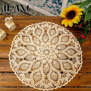 50/55/60CM Round Vintage Crochet Coasters Cotton Lace Cup Mat Placemat Handmade Shabby Chic DIY Crocheted Table Cloth