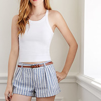 Striped Linen Belted Shorts