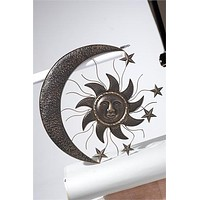 Celestial Sun and Moon Metal Wall Decor -- 27-1/2 in