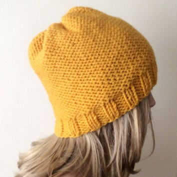 "Hand Knitted Hat, Slouchy  Hat, Beanie ,Boho ""Chunky "", Winter Fashion, Winter Accesories"