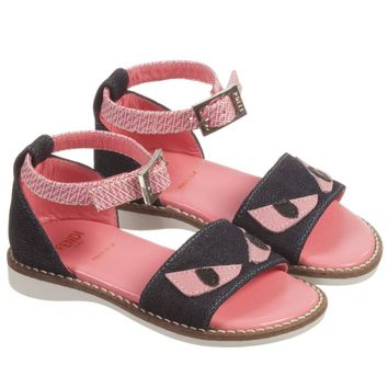 Girls Pink Leather and Denim 'Monster' Sandals