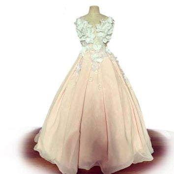 Elegant Sheer Neckline Crystal party dresses Pink evening dress 3D flowers prom dresses Party Dress Ball Gown