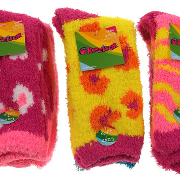 6 Pairs Fuzzy Crew Socks Krazisox Pink Yellow Blue Cozy Womens Size 4-10 Stripes