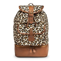 Women's Leopard Print Drawstring Backpack Handbag - Brown