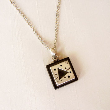 SALE - Ebony and Sterling Silver Pendant, silver plated chain - Triangle and Square Contemporary Jewelry Necklace