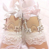 SALE Pair of Double Strap Heart Garters from CREEPYYEHA