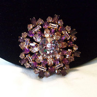 Czech Flower Pin Amethyst & Lilac Purple Glass Rhinestone Geometric Gold Plate Vintage Brooch 2""
