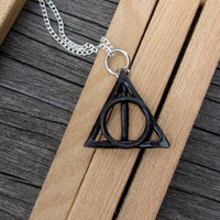 Harry Potter necklace Gothic Black Deathly Hallows by ChanceryLane
