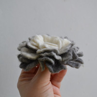 Wool Felt Flower Pin White and Gray Ombre - Floral Winter Coat Accessory - Handmade Felted Brooch