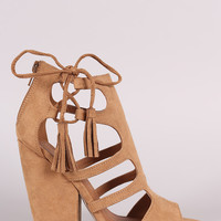 Qupid Cage Side Lace Up Chunky Heel