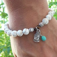 Inner Peace - White Magnesite Meditation Stretch Bracelet with Buddha Charm