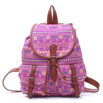 Purple Aztec College School Bag Travel Bag Canvas Lightweight Casual Backpack