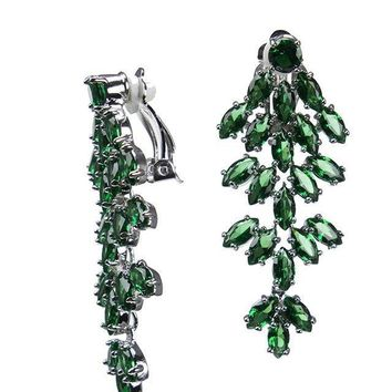 CZ by Kenneth Jay Lane - Emerald Marquise Waterfall Clip Earring