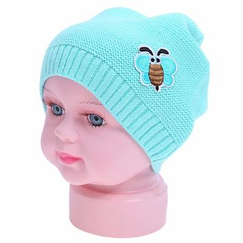 New Baby Hat Autumn Winter Warm Ear Protection Cap Infant Toddler Kids Cartoon Bee Wool Knitted Beanies Baby Boys Girls Hat