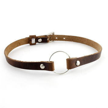 Rustic Brown Leather Charm Choker