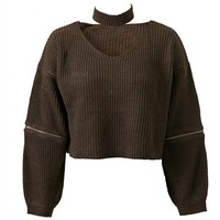Women's Fashion Autumn V-neck Pullover Sweater [18057560089]