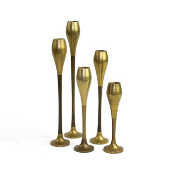 Mid-Century Modern Brass Candlesticks (Set of 5, Graduated Sized) - Danish Tulip Styling, Bullet Taper Candle Holder - Vintage Home Decor