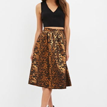 Contemporary Floral Jacquard A-Line Skirt