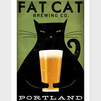 MADE to ORDER Fat Cat Brewing Company Black Cat Graphic Art Illustration 12x18 giclee print SIGNED