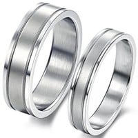 Geminis Fashion Jewelry Simple Style Double Grooves Stainless Steel Promise Couple Ring