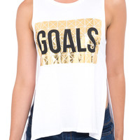 SLEEVELESS TANK WITH FOIL GRAPHIC ON FRONT