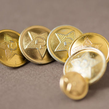Soviet army military uniform buttons vintage shiny gold tone buttons with star