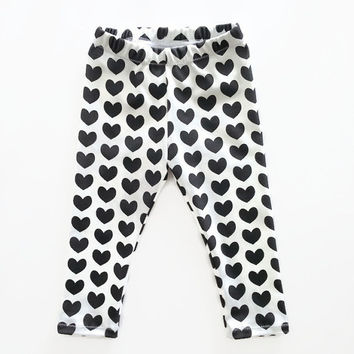 Black Heart Leggings Organic White Baby Girls