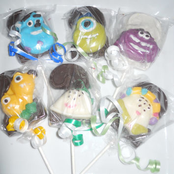 12 Disney Monsters University Inc Sully Mike Art Terry Perry 2nd Second Birthday Gourmet Chocolate Lollipops Birthday Party Favor Kids