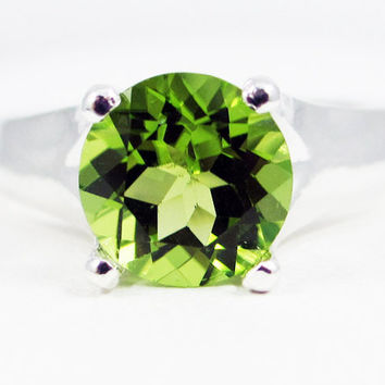 Sterling Silver Large Peridot Solitaire Ring, August Birthstone Ring, Sterling Silver Solitaire Ring, Large Peridot Solitaire ring