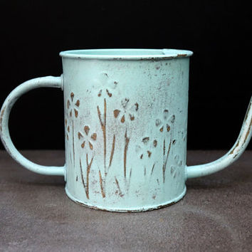 Watering Can Vase | Shabby Chic Vase | Painted Flower Vase | Shabby Chic Home Decor | FTDA vase | Metal Vase