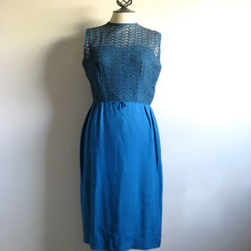 Vintage 1950s Dress Blue Mesh Ribbon Mad Men Jack Posluns Wiggle Day Dress