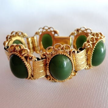 Green Cameo Bracelet, Cabochons Panel Cuff Bracelet with Gold Toned Frames, Etched Ornate Design Filigree, Box Clasp, Vintage Jewelry